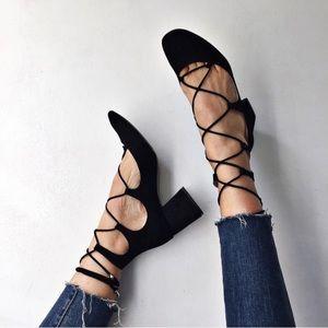 NEW Zara Suede Lace Up Block Heel Boots Black 9